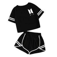Женский летний спортивный костюм для девочек, комплект BTS Singer, фирменные хлопковые шорты с принтом, укороченный топ, футболка с круглым выре