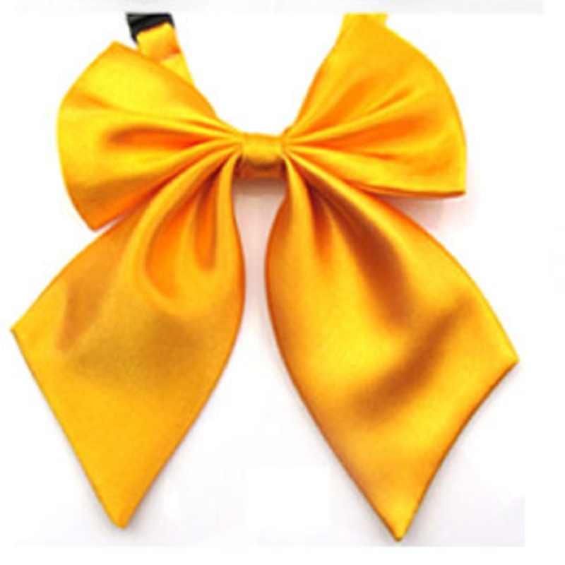 رابطة فراشات وربطة عنق للنساء من الذهب الأصفر بلون واحد موديل عام 2019 من HOOYI