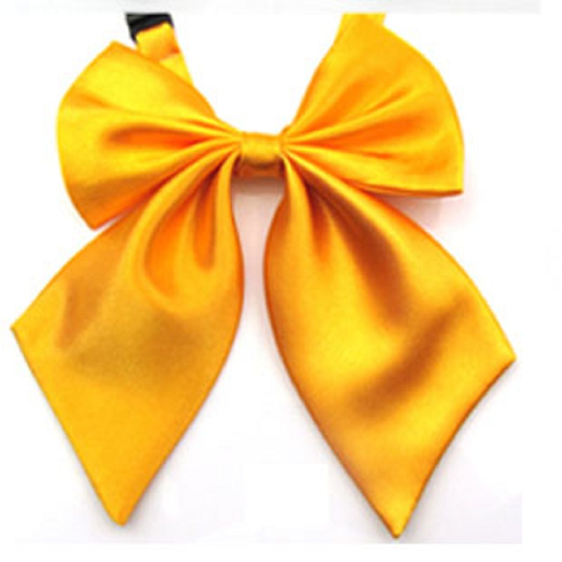 Hooyi 2019 Einfarbig Gelb Gold Frauen Neck Fliege Schmetterlinge