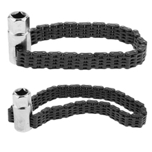 2 Pcs Universal Auto Car 1/2' 44 & 52 Knots Double Chains Oil Filter Wrench Strap Wrench Oil Filter Tool 120mm chrome vanadium steel strap 9 inch 225mm motor car oil filter strap wrench strap filter wrench oil filter wrench