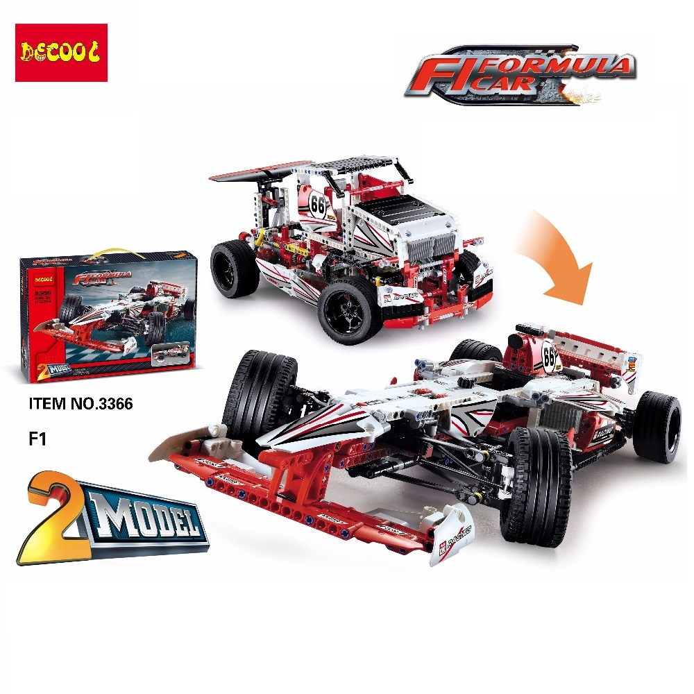 2 Model Decool 3366 1219pcs F1 FORMULA 1 Racing building blocks brick boys Toys children Fit for lego for lepin 42000 technic 8 in 1 military ship building blocks toys for boys