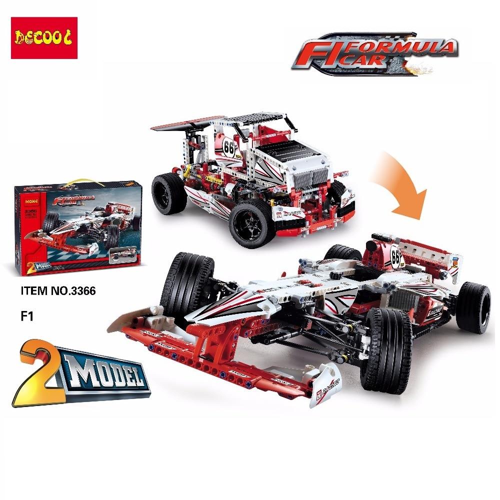 2 Model Decool 3366 1219pcs F1 FORMULA Racing super car building blocks brick Toys children LegoINGlys LPS LELE 42000 technic цена