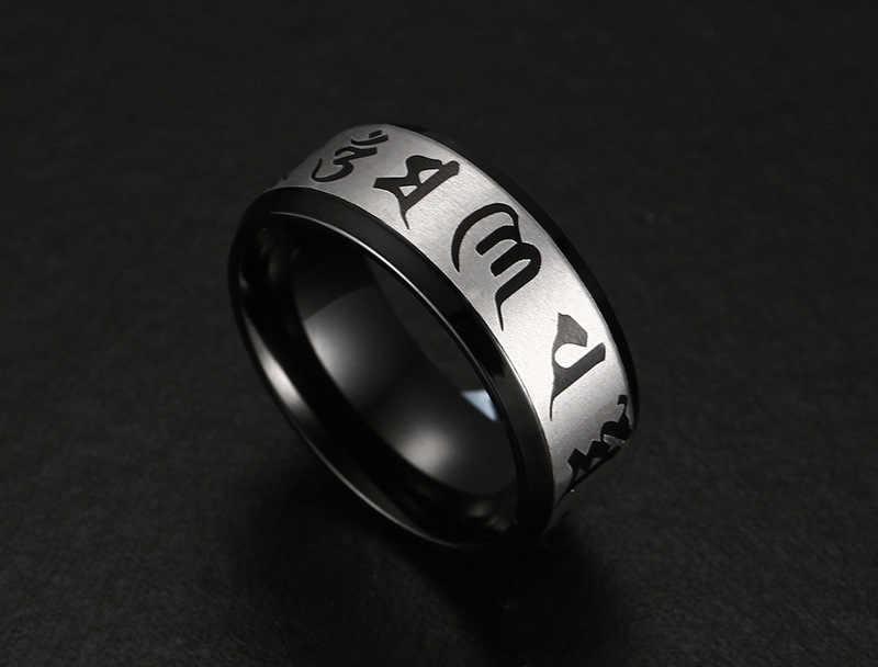 ZORCVENS 2020 คุณภาพสูงสำหรับบุรุษเครื่องประดับสแตนเลสแหวนแบบดั้งเดิมOm Mani Padme Humแหวนผู้ชายสีดำสี