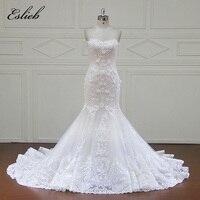 Eslieb Luxury Beaded Scoop Crystal Mermaid Wedding Dress 2017 Gorgeous Appliques Pearls Trumpet Bride Gown Robe De Mariage