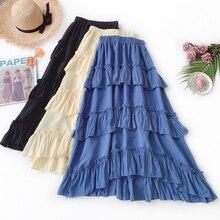 2019 New Summer Spring Long Skirts Womens Korean Asymmetrical Cake Layer Ruffle Skirt High Elastic Waist Pleated Skirt Women self belt ruffle waist high split skirt