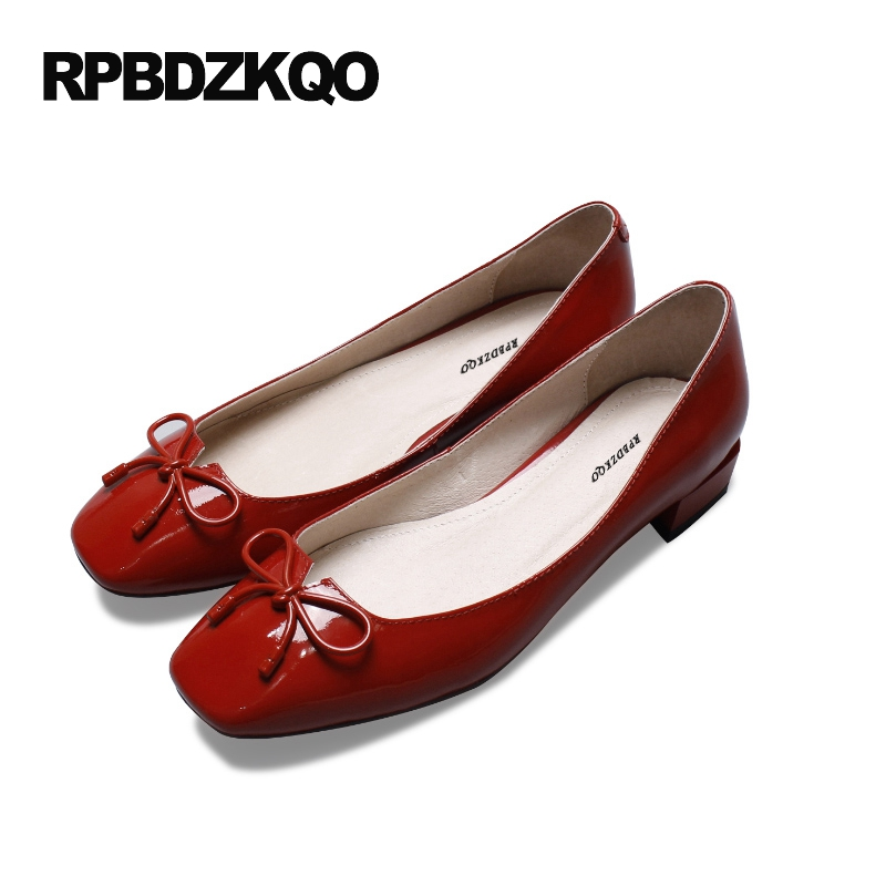 Women Flats Shoes With Little Cute Bowtie Shallow Red Bow Square Toe Ladies Low Heel Latest Slip On Patent Leather Beautiful