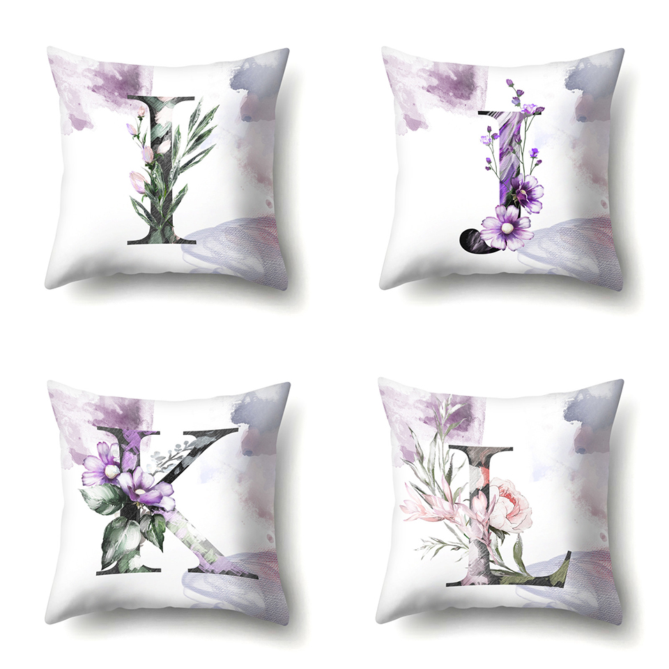 c Nordic Violet Letters Cushion Cover Printed Flowers Throw Pillow Covers Decorative Purple Farmhouse Decor Plants Home Decoration