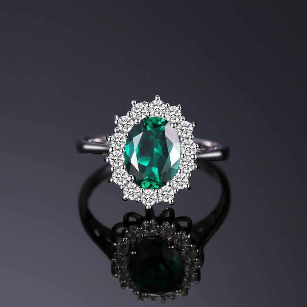 Image 2 - JewPalace Princess Diana Simulated Emerald Ring 925 Sterling Silver Rings for Women Engagement Ring Silver 925 Gemstones Jewelry-in Rings from Jewelry & Accessories