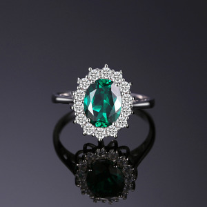 Image 2 - JewPalace Princess Diana Simulated Emerald Ring 925 Sterling Silver Rings for Women Engagement Ring Silver 925 Gemstones Jewelry