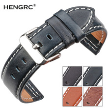купить Cowhide Watchband 22mm 24mm Black Blue Brown Orange Women Men Genuine Leather Watch Band Strap Accessories по цене 449.41 рублей