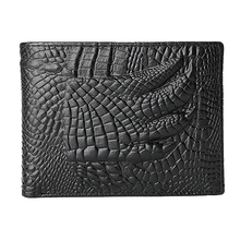 Men Wallets Luxury Brand Genuine Leather Wallets Vintage Alligator Men's Leather Wallet with Coin Purse Card Holder Short Wallet недорого