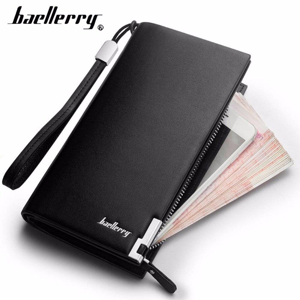 Baellerry billeteras de los hombres clásico largo de estilo de la tarjeta titular de hombre bolso cremallera de calidad de gran capacidad grande de la marca de lujo de cartera para hombres