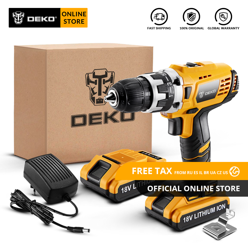 Original DEKO GCD18DU2 18V Cordless Drill Electric Screwdriver Lithium Ion Mini Power Driver Variable Speed LED