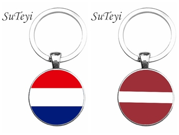 SUTEYI Vintage Netherlands/Latvia Flag Pendant Key Chain Jewelry Women/Men Bag Keychain Round Glass Silver Plated Key Ring image