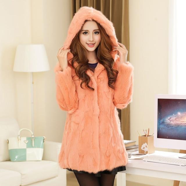 С Длинными рукавами мех кролика пальто средней длины тонкий плюс размер с капюшоном