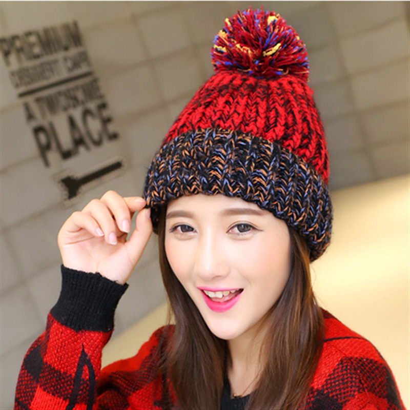 2pcs Woman's Warm Winter Hats Knitted Cap for Woman Hats Skullies Beanies Bonnet Femme Gorros Mujer Autumn Hat Bone Feminino knitted winter autumn female hat plaid lace beanie cap woman chunky baggy cap skull gorros de lana mujer femme beanies cap