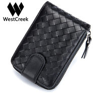 Westcreek Brand Men Women Minimalist Zipper Knitting Credit Card Holder Lady Business Card Holder Hasp Sheepskin