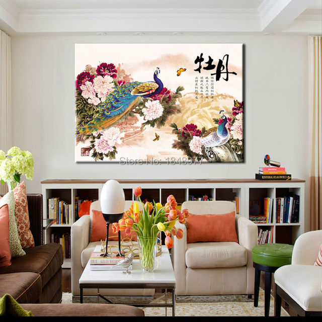 quadros de parede large chinese oil paintings peony and peacock feng