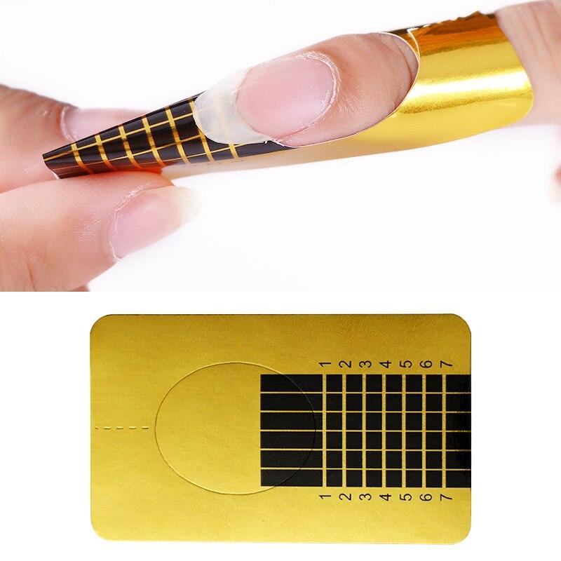 20 Pcs Nail Form For Soak Off UV Gel Quick Extension Nail Gel Gold Professional Nail Art Design Tools