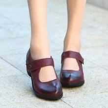 Vintage Genuine Leather Handmade Women's Shoes Elegant Button Thick Heels Shoes Claretred Wine Red Women Pumps 859-301-6A