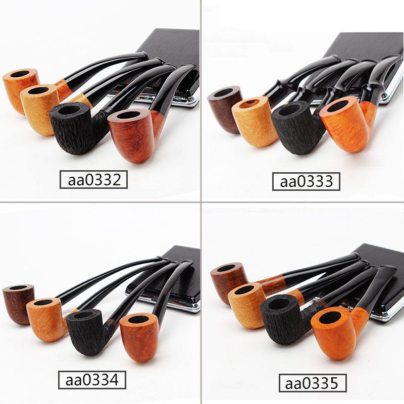 Briar Wooden Pipes for Smoking Wood Bent Type Pipe Dismountable Handle with 9mm or 3mm filter aa0332-aa0335