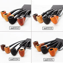 Briar Wooden Pipes for Smoking Briar Wood Bent Type Pipe Dismountable Handle Pipe with 9mm or 3mm filter aa0332-aa0335 ганг сумка briar 3х16х25 см