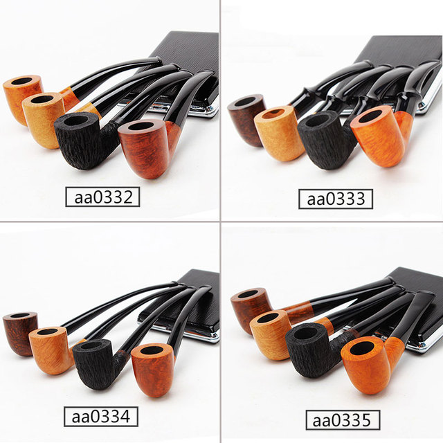 Briar Wooden Pipes for Smoking Weed Briar Wood Bent Type Pipe Dismountable Handle Pipe with 9mm or 3mm filter