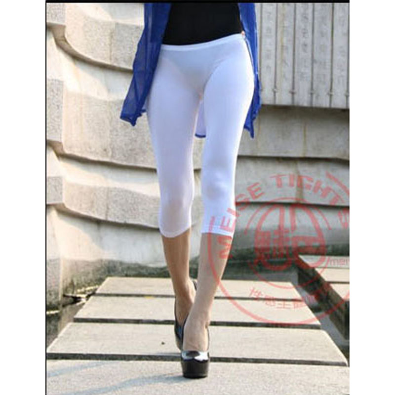 Elastic Low Waist Bodycon Peach Hip Pencil Pants Ice Silk Capris Women Shaping Sexy Calf-length Pants Bottom Legging Pencil Pant