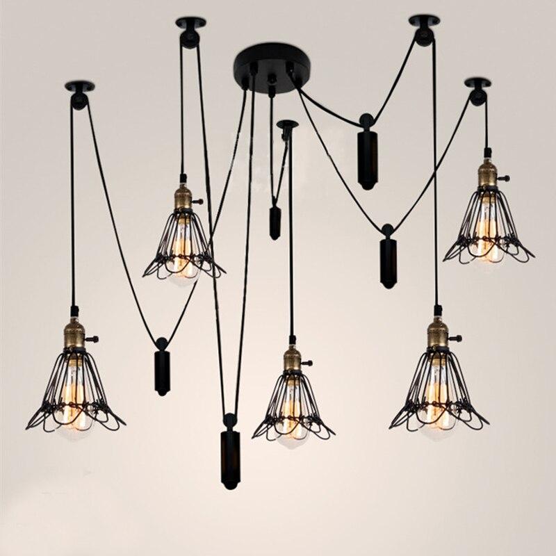 Vintage Industrial Ceiling Lamp Edison Light Modern Creative Ceiling Lights Pulley Retro Flush Mount Ceiling Light Edison Bulb