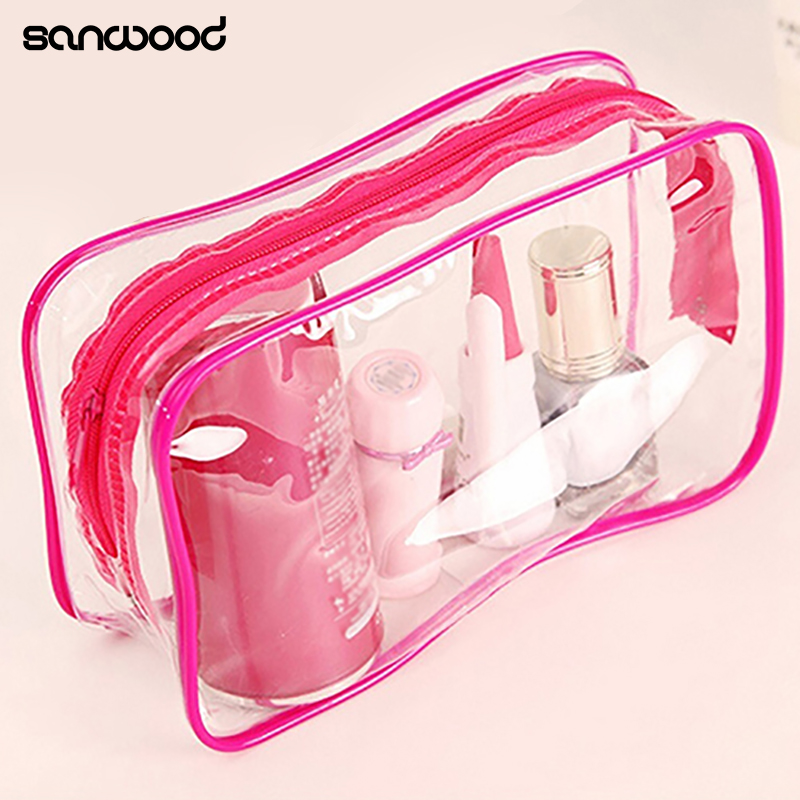 Clear Transparent PVC Travel Cosmetic Make Up Toiletry Bag Zipper Pouch custom transparent clear pvc make up tote bag with double handles
