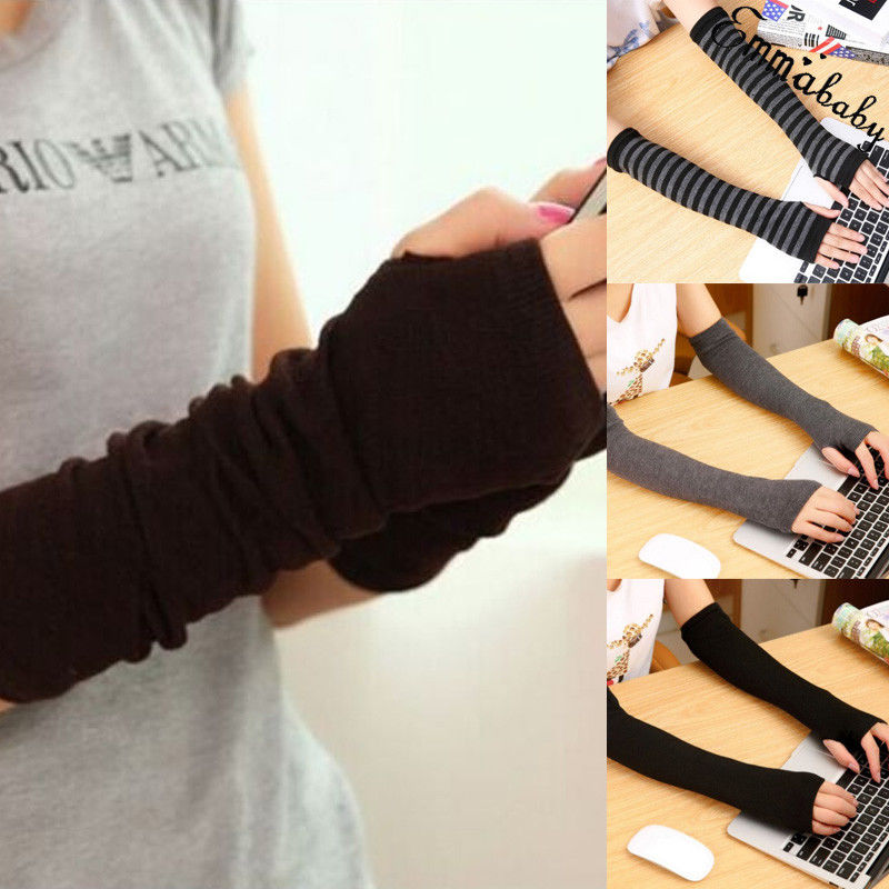 Women Winter Warm Gloves Cute Protection Arm Warmer Long Fingerless Stretchy Gloves Sleeves Mittens