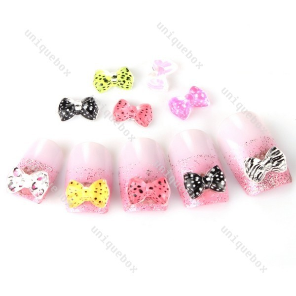 20pcs 3d nail art decorations mix color leopard transparent bow with rhinestone nail stickers 043059