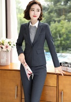 High Quality Fabric Uniform Styles Business Suits With Jackets And Pants Elegant Grey Office Work Wear Pants Suits Blazers Set