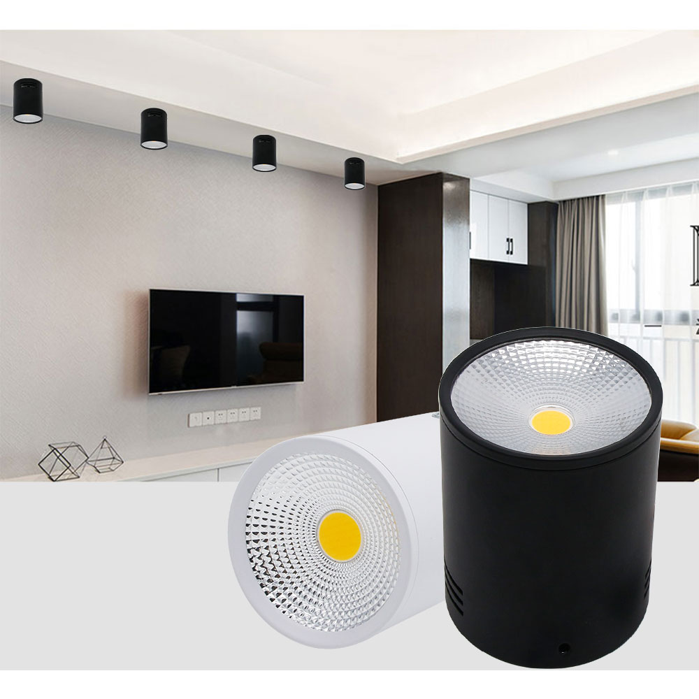 4pcs/lot Led Cob Surface Mounted Downlight non Dimmable 7w/10w White/black Housing Ac85-265v Ceiling Spot Light Home