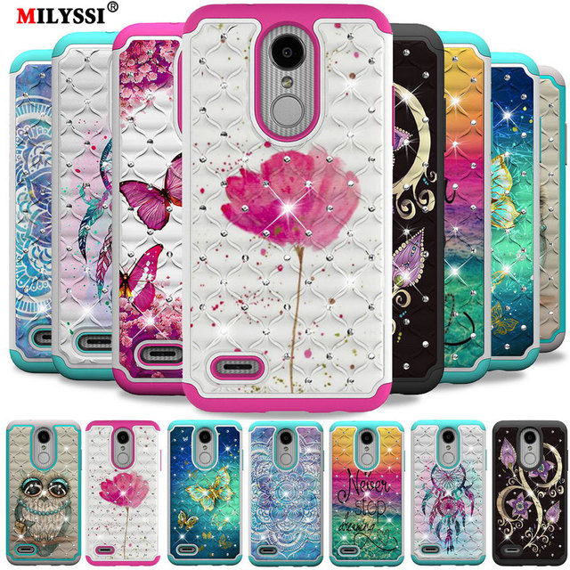 super popular 4b5c8 2db73 US $2.72 9% OFF|2 in1 Diamond Phone Case for LG Aristo 2 Plus Colorful  Flicker Pattern TPU+PC Phone Cover for for LG Aristo 2 Case-in Wallet Cases  ...