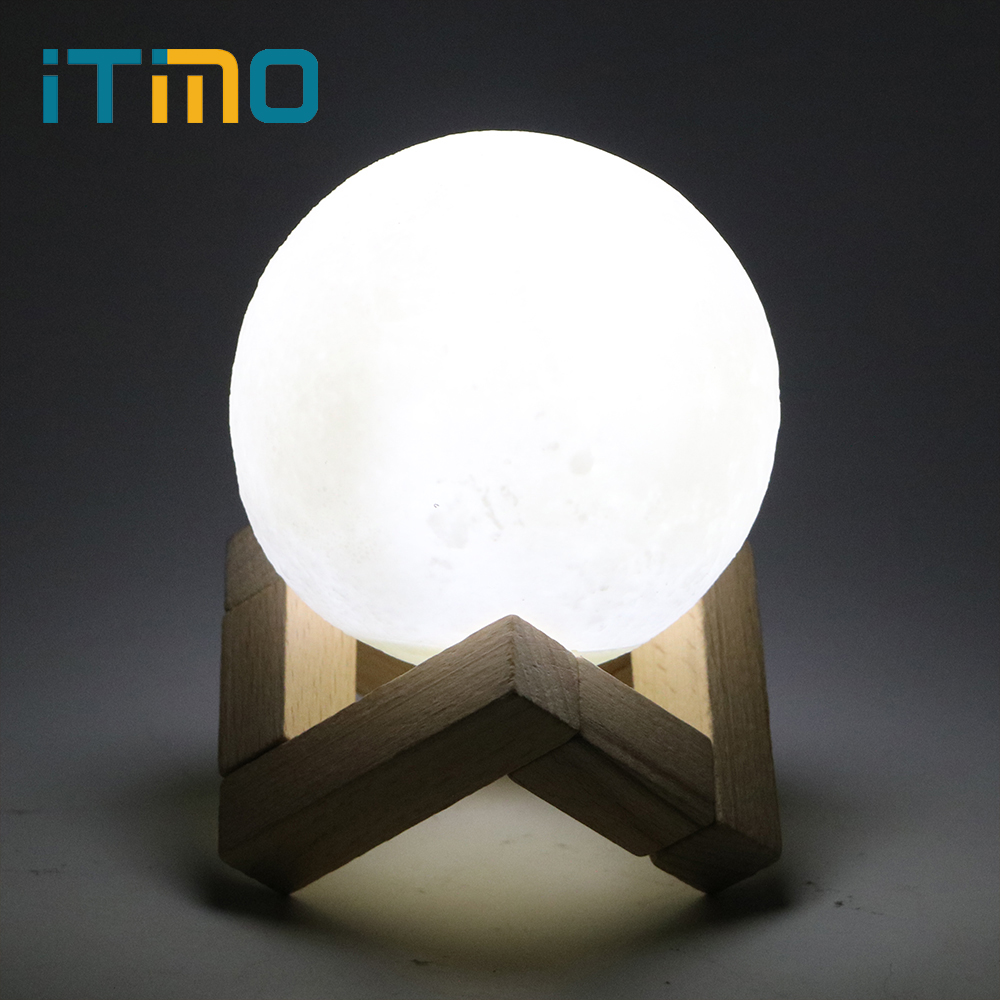 iTimo 8CM Rechargeable 3D Moon Light USB LED Night Light Home Decor Creative Child Gift Touch Switch Moon Lamp with Wood Holder moon flac wood