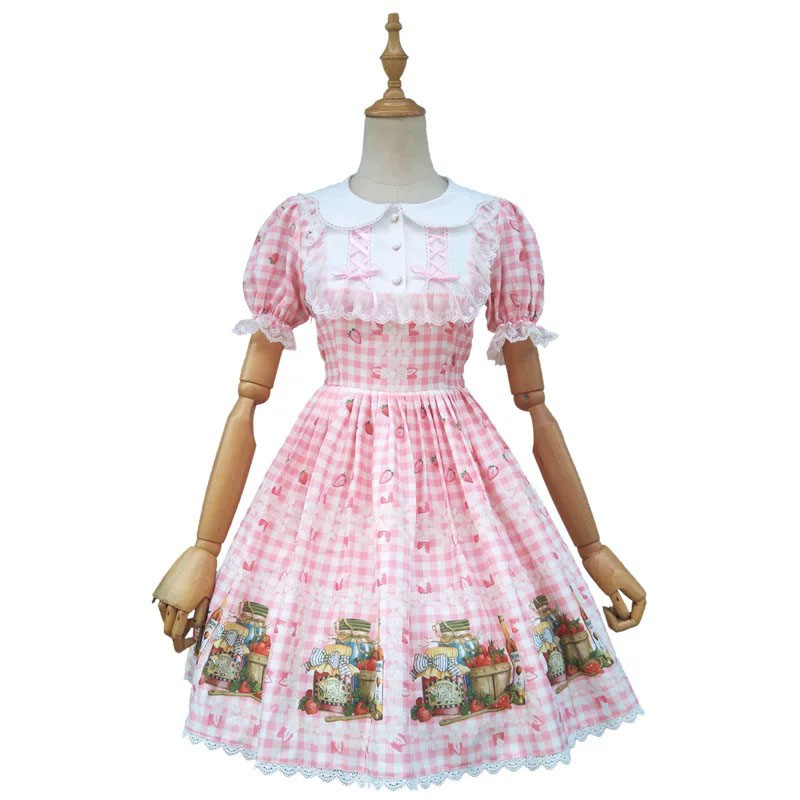 Teen Girls Plaid Lolita Dress Ladies Short Sleeves Ruffle Strawberry Cherry Flower Printed Dress Cute Princess Costume For Women