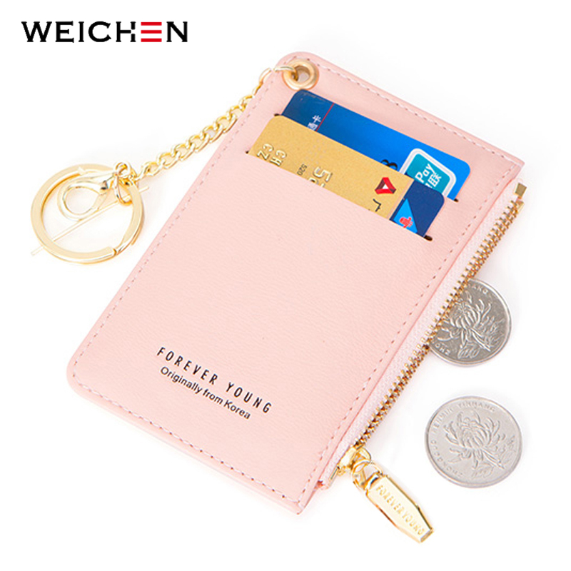 WEICHEN Mini Card Holder Women Soft Leather Key Chain Bag Small Card Wallets Female Mini Credit Card Case Zipper Coin Bags candy colored girls coin bags women key wallets cute pu eva mini square storage hard bag case holder for sd tf card earphone