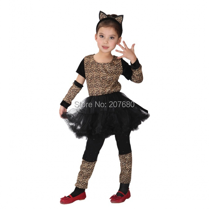 Cat Costumes for Kids Little Leopard Kitty Fancy dress Cosplay Clothes Halloween Party decoration  sc 1 st  AliExpress.com & Cute Girls Pink Leopard Catwoman Costume Kids Comic Cat Dress ...