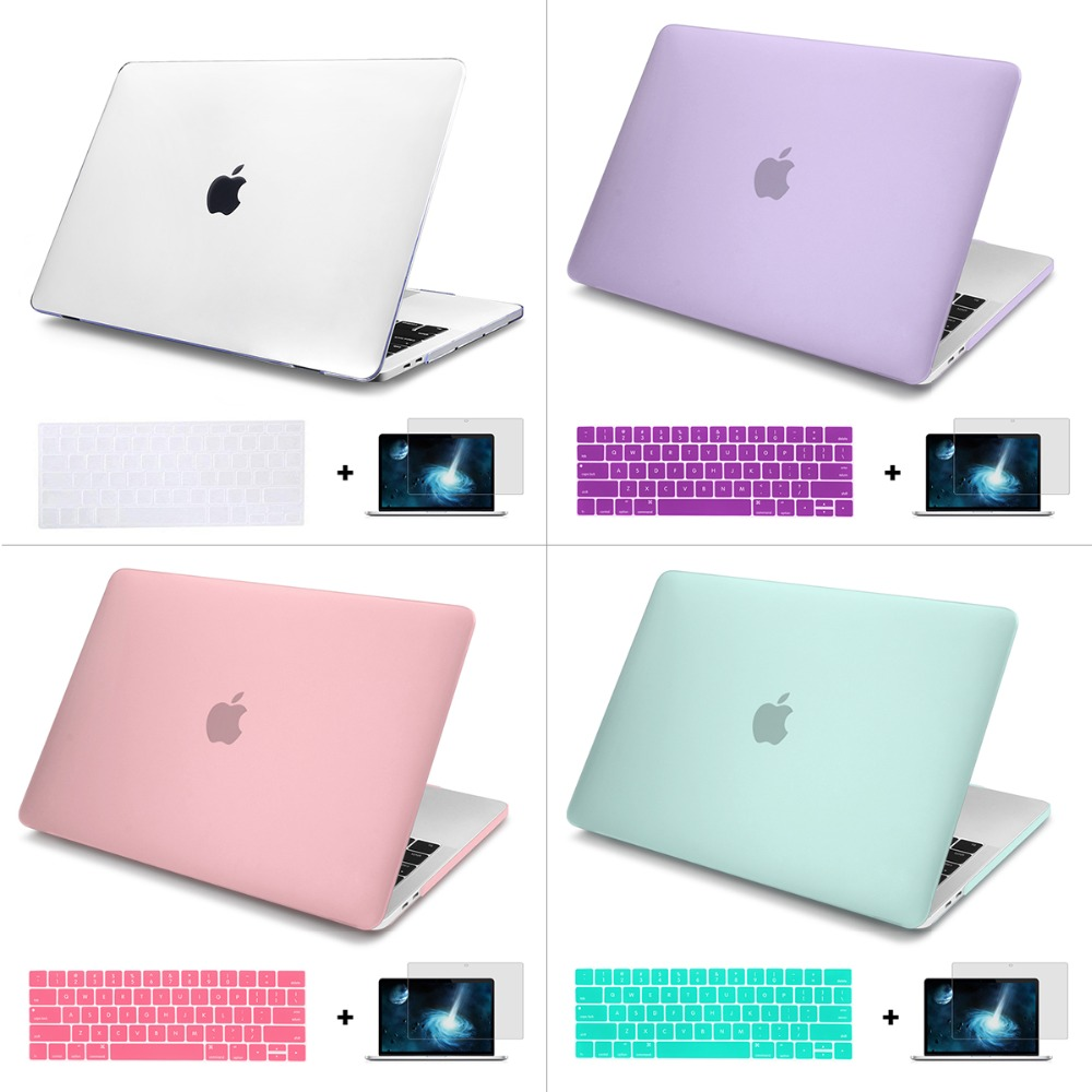 For Macbook New Air 13 2018 A1932 Case keyboard Cover New Matte Crystal Case For Macbook Air Pro Retina 11 12 13 15 Laptop Bag