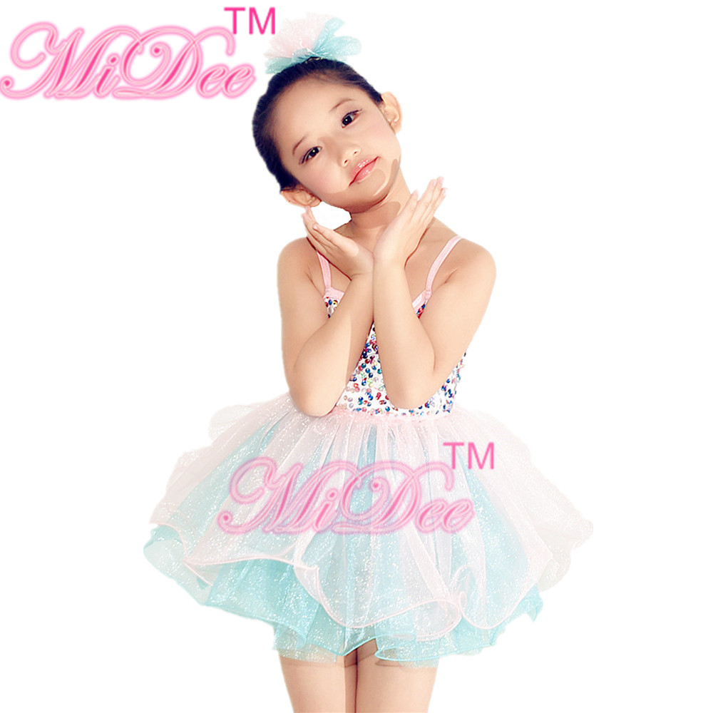 7e3cab475b MiDee Sequins Dance Dress Swan Lake Tutu Dance Dress Girls Camisole Pinky  Dresses Two Tones Dance Costume For Girls-in Ballet from Novelty   Special  Use on ...