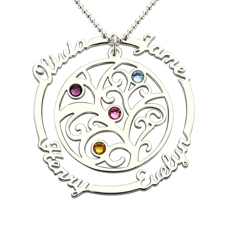 AILIN Family Tree Necklace with Birthstone Silver Hand Stamped Mother Necklace Birthstone Necklace for Mom Grandmother цена и фото