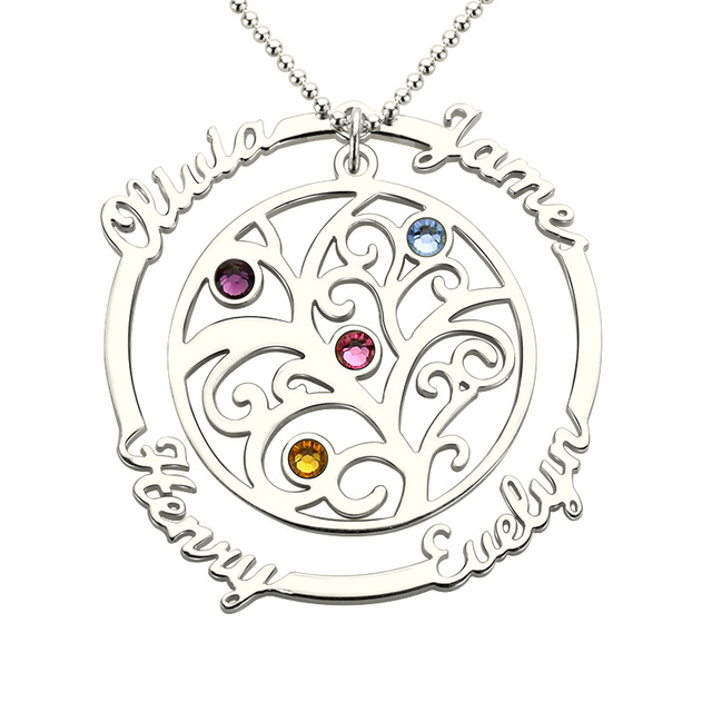 a78cd06b098c AILIN Family Tree Necklace with Birthstone Silver Hand Stamped Mother Necklace  Birthstone Necklace for Mom Grandmother