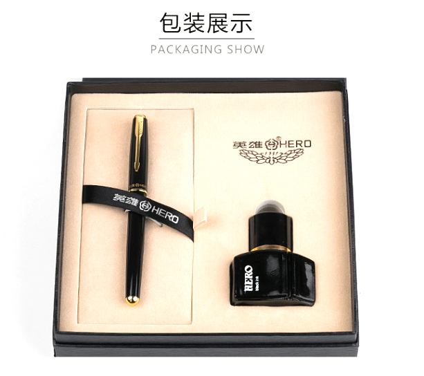 1set ART SET HERO fountain pen ink pen set  ink high-end gift box package with a bottle of ink school supplies 3576p fine financia pen student pen art fountain pen 0 38 0 5 0 8mm optional gift box set
