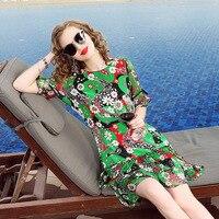 Europe Ukraine Dresses Plus Size 2018 Spring And Summer Dress Women Vestidos High end Printed Stitching Ruffle 100% Silk Dress