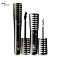 Pudaier Perfect Partner Eye Makeup Carbon Black Mascara + Eyelash Mate Cream Long Lasting Curling Encryption Classic Combination