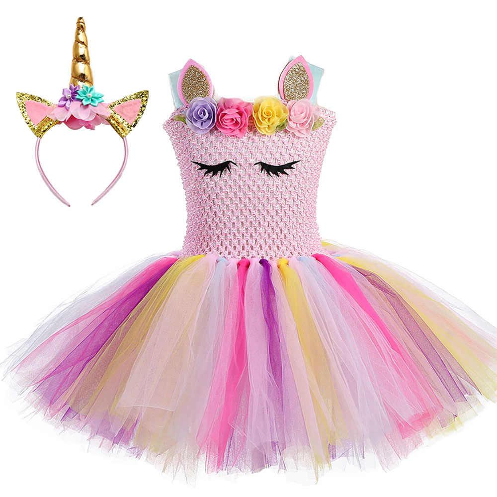 8784d8075aff0 Cute Princess Girl Pastel Unicorn Birthday Tutu Dress with Headband Pink  Flowers Girl Pony Theme Party Costume set For Holidays