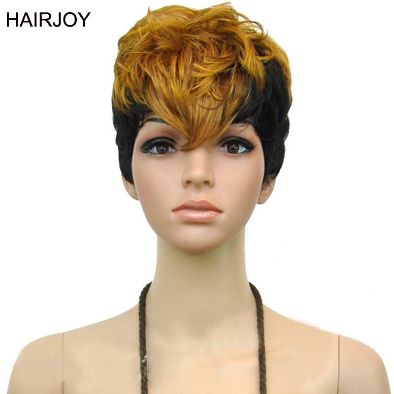 HAIRJOY Women 2 Tones Heat Resistant Synthetic Hair Double Color Short Curly Party Cosplay Wig 3 Colors Free Shipping