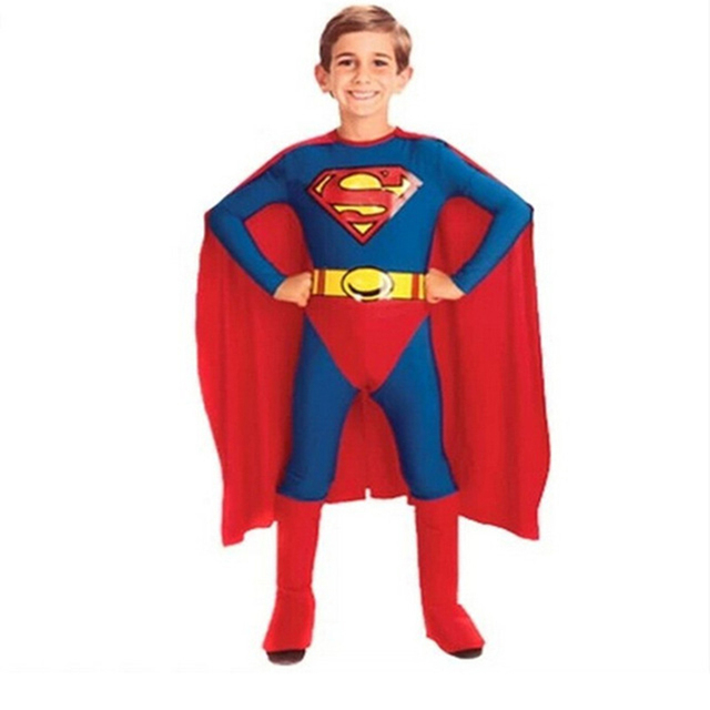 Populares Meninos Superman crianças Capas de Super-heróis Trajes Cosplay Dia Das Bruxas Azul Vermelho Anime Cosplay Carnaval Meninos Macacão Corpo Terno
