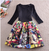 Free Shipping High Quality Western Style Elegant Marilyn Monroe Printed Three quarter Sleeve Collect Waist Dress Black